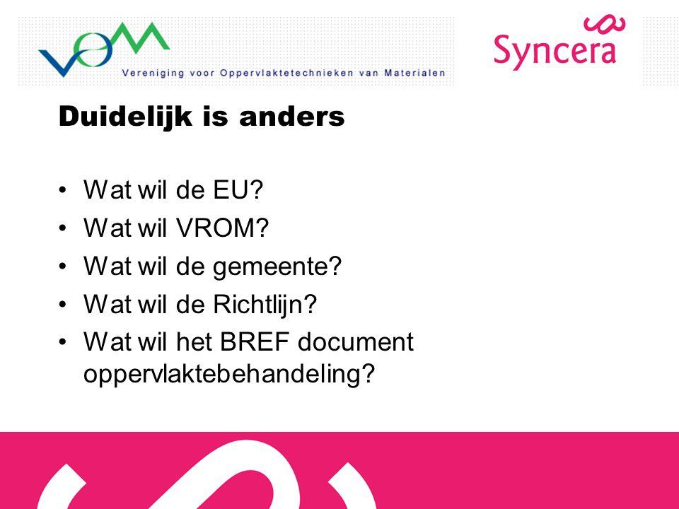 Duidelijk is anders Wat wil de EU? Wat wil VROM? Wat wil de gemeente? Wat wil de Richtlijn? Wat wil het BREF document oppervlaktebehandeling?