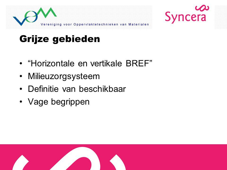 """Grijze gebieden """"Horizontale en vertikale BREF"""" Milieuzorgsysteem Definitie van beschikbaar Vage begrippen"""