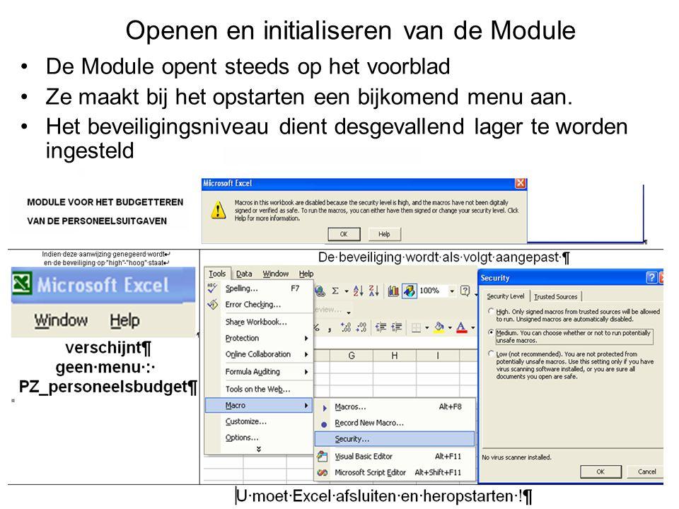 Openen en initialiseren van de Module De Module opent steeds op het voorblad Ze maakt bij het opstarten een bijkomend menu aan.