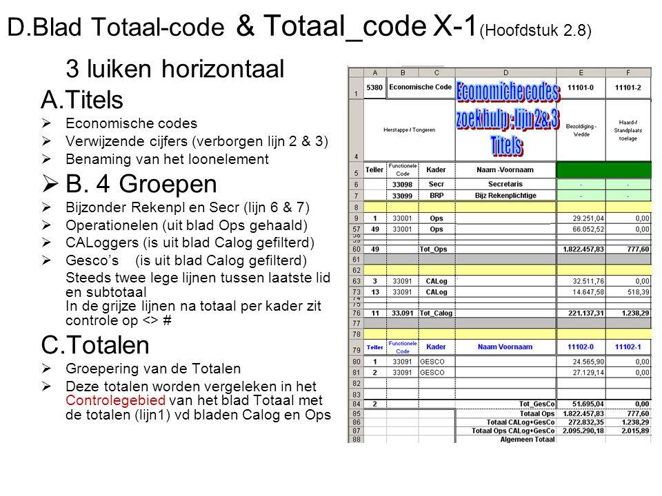 D.Blad Totaal-code & Totaal_code X-1 (Hoofdstuk 2.8) 3 luiken horizontaal A.Titels  Economische codes  Verwijzende cijfers (verborgen lijn 2 & 3)  Benaming van het loonelement  B.