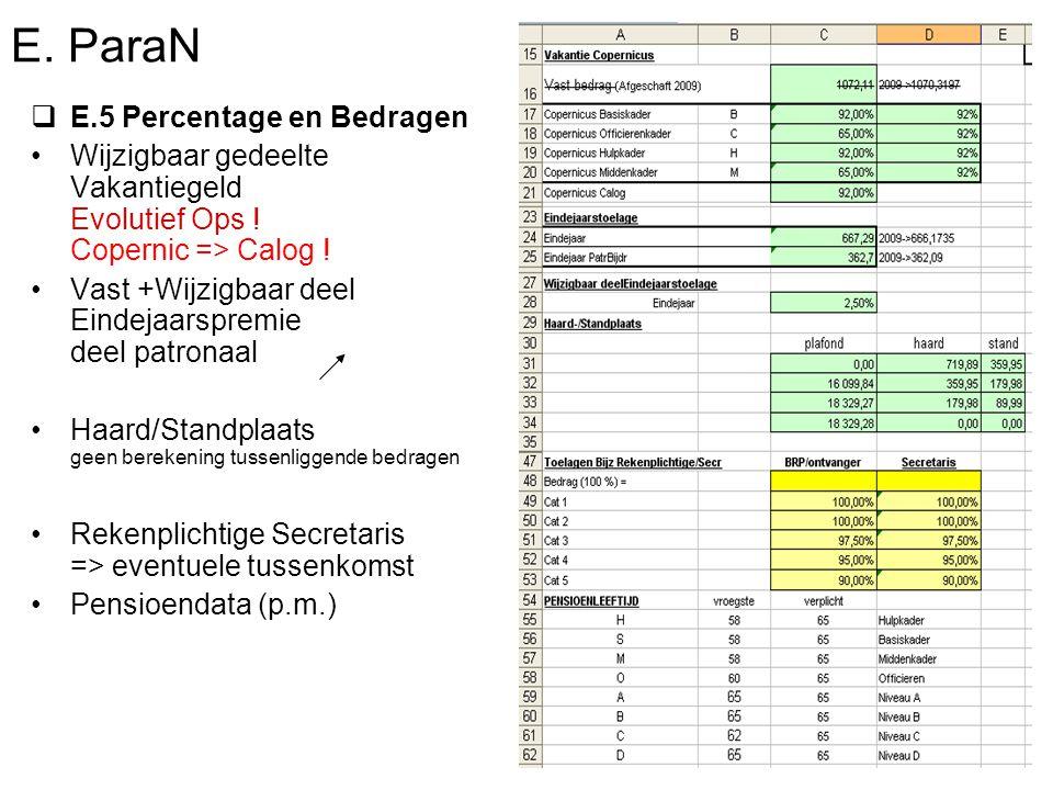 E. ParaN  E.5 Percentage en Bedragen Wijzigbaar gedeelte Vakantiegeld Evolutief Ops .