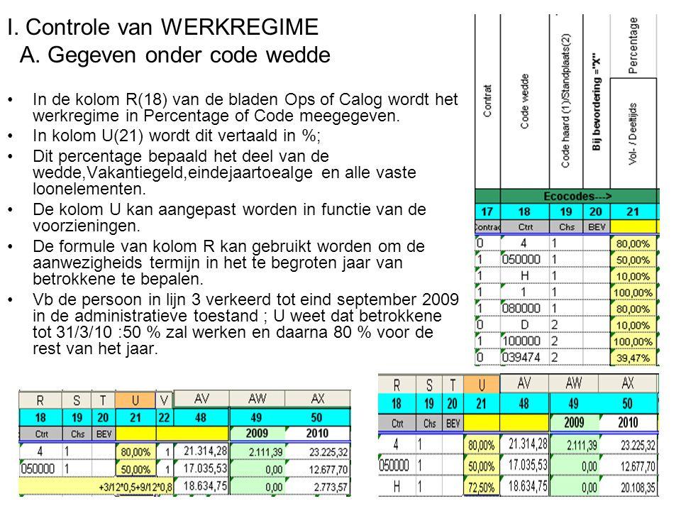 I. Controle van WERKREGIME A.