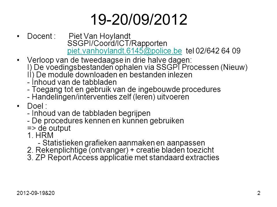 2012-09-19&202 19-20/09/2012 Docent : Piet Van Hoylandt SSGPI/Coord/ICT/Rapporten piet.vanhoylandt.6145@police.be tel 02/642 64 09piet.vanhoylandt.6145@police.be Verloop van de tweedaagse in drie halve dagen: I) De voedingsbestanden ophalen via SSGPI Processen (Nieuw) II) De module downloaden en bestanden inlezen - Inhoud van de tabbladen - Toegang tot en gebruik van de ingebouwde procedures - Handelingen/interventies zelf (leren) uitvoeren Doel : - Inhoud van de tabbladen begrijpen - De procedures kennen en kunnen gebruiken => de output 1.
