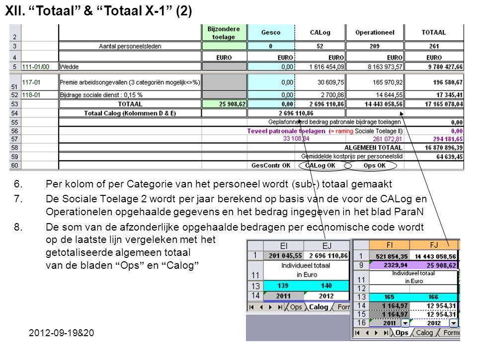 2012-09-19&2033 6.Per kolom of per Categorie van het personeel wordt (sub-) totaal gemaakt 7.De Sociale Toelage 2 wordt per jaar berekend op basis van de voor de CALog en Operationelen opgehaalde gegevens en het bedrag ingegeven in het blad ParaN 8.De som van de afzonderlijke opgehaalde bedragen per economische code wordt op de laatste lijn vergeleken met het getotaliseerde algemeen totaal van de bladen Ops en Calog XII.