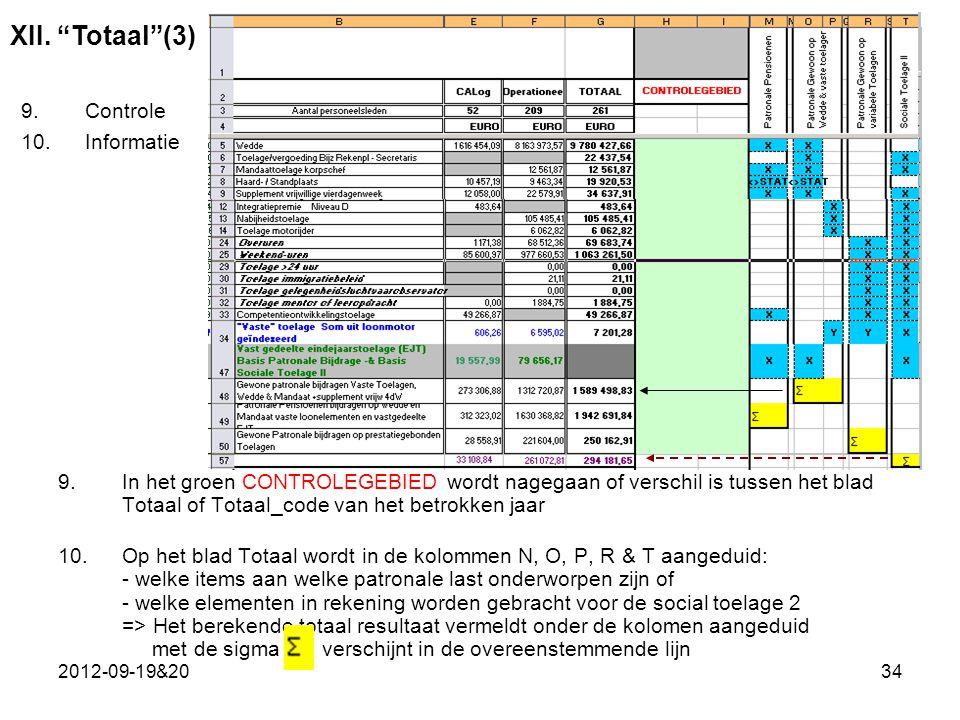 2012-09-19&2034 9.In het groen CONTROLEGEBIED wordt nagegaan of verschil is tussen het blad Totaal of Totaal_code van het betrokken jaar 10.Op het blad Totaal wordt in de kolommen N, O, P, R & T aangeduid: - welke items aan welke patronale last onderworpen zijn of - welke elementen in rekening worden gebracht voor de social toelage 2 => Het berekende totaal resultaat vermeldt onder de kolomen aangeduid met de sigma verschijnt in de overeenstemmende lijn XII.