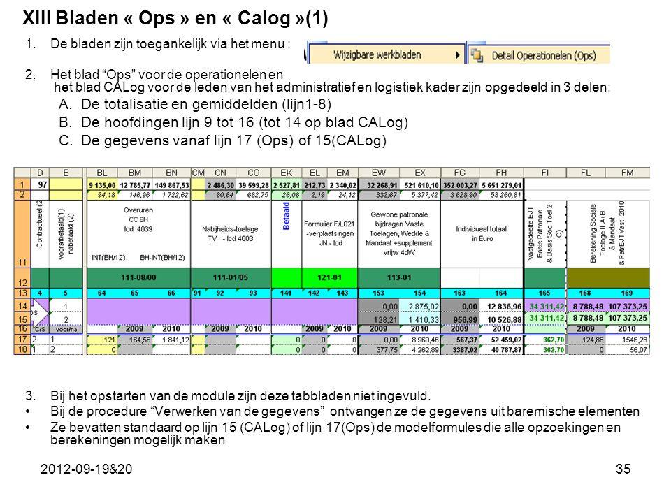 2012-09-19&2035 1.De bladen zijn toegankelijk via het menu : 2.Het blad Ops voor de operationelen en het blad CALog voor de leden van het administratief en logistiek kader zijn opgedeeld in 3 delen: A.De totalisatie en gemiddelden (lijn1-8) B.De hoofdingen lijn 9 tot 16 (tot 14 op blad CALog) C.De gegevens vanaf lijn 17 (Ops) of 15(CALog) 3.Bij het opstarten van de module zijn deze tabbladen niet ingevuld.