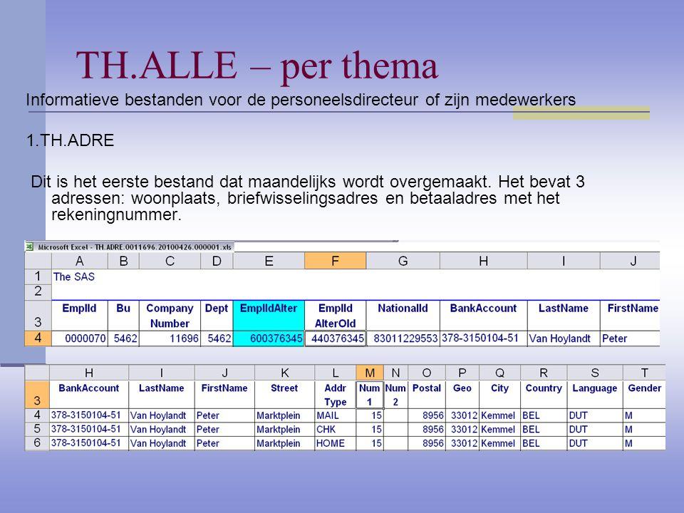 TH.ALLE – per thema Informatieve bestanden voor de personeelsdirecteur of zijn medewerkers 1.TH.ADRE Dit is het eerste bestand dat maandelijks wordt overgemaakt.
