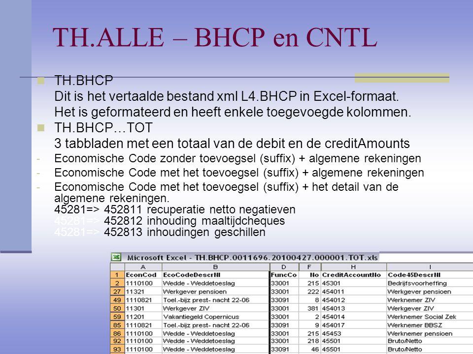 TH.ALLE – BHCP en CNTL TH.BHCP Dit is het vertaalde bestand xml L4.BHCP in Excel-formaat. Het is geformateerd en heeft enkele toegevoegde kolommen. TH