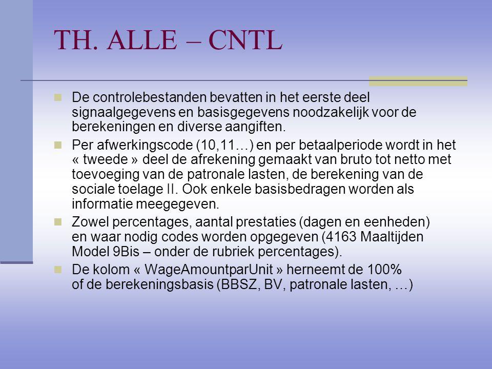 TH. ALLE – CNTL De controlebestanden bevatten in het eerste deel signaalgegevens en basisgegevens noodzakelijk voor de berekeningen en diverse aangift