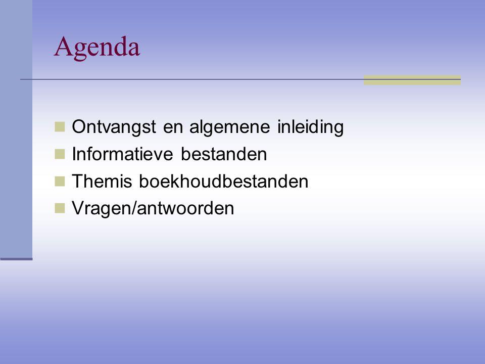 Agenda Ontvangst en algemene inleiding Informatieve bestanden Themis boekhoudbestanden Vragen/antwoorden