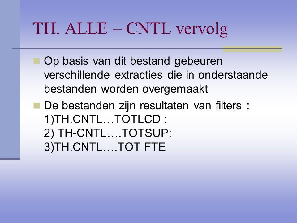 TH. ALLE – CNTL vervolg Op basis van dit bestand gebeuren verschillende extracties die in onderstaande bestanden worden overgemaakt De bestanden zijn