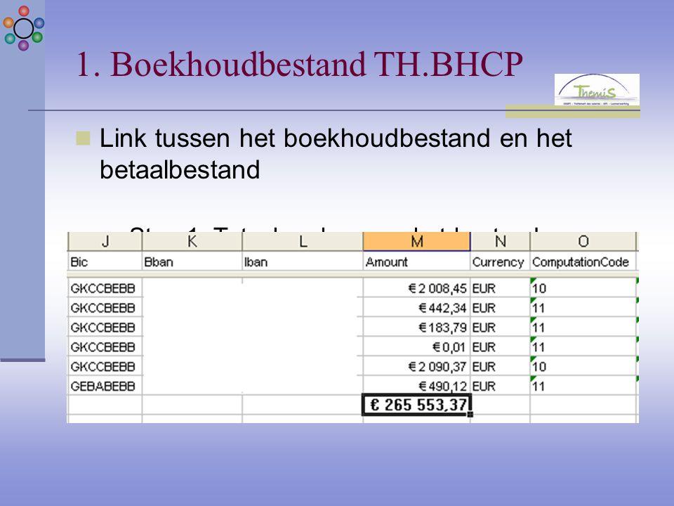 1. Boekhoudbestand TH.BHCP Link tussen het boekhoudbestand en het betaalbestand Stap 1: Totaal maken van het bestand TH.PAYE: € 265.553,37