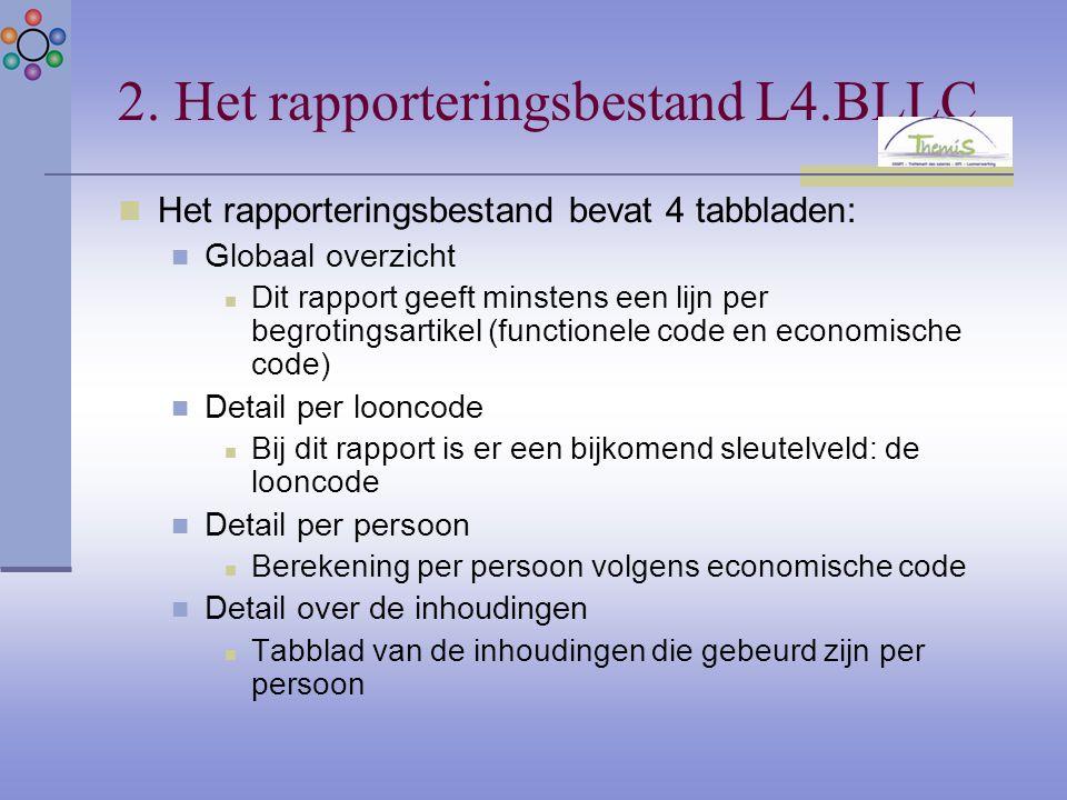 2. Het rapporteringsbestand L4.BLLC Het rapporteringsbestand bevat 4 tabbladen: Globaal overzicht Dit rapport geeft minstens een lijn per begrotingsar