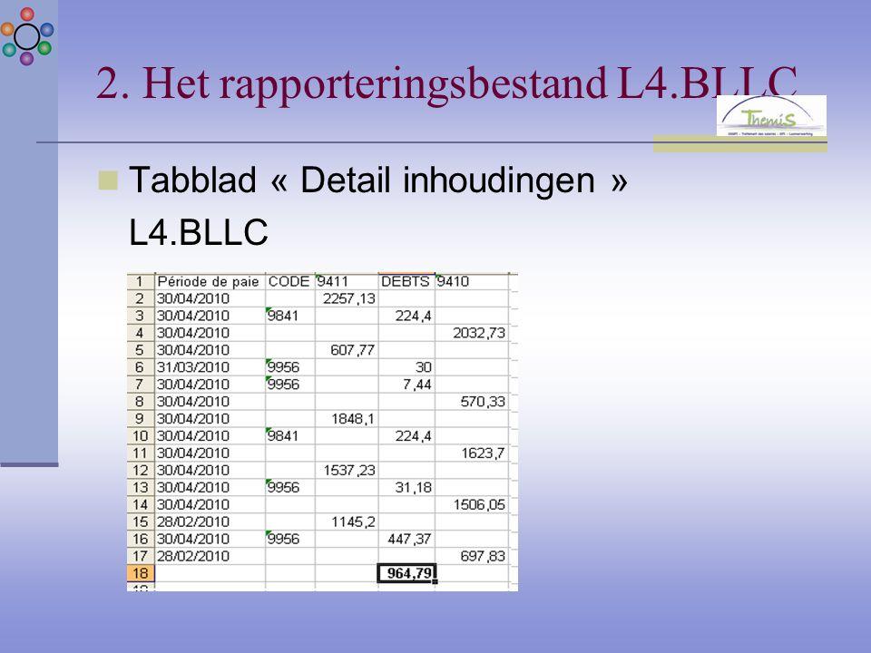 2. Het rapporteringsbestand L4.BLLC Tabblad « Detail inhoudingen » L4.BLLC