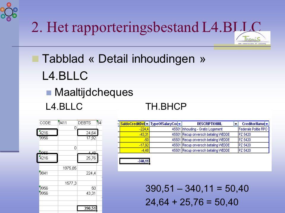 2. Het rapporteringsbestand L4.BLLC Tabblad « Detail inhoudingen » L4.BLLC Maaltijdcheques L4.BLLCTH.BHCP 390,51 – 340,11 = 50,40 24,64 + 25,76 = 50,4