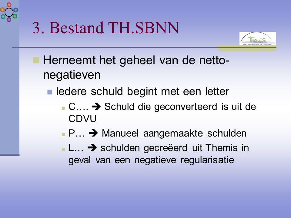 3. Bestand TH.SBNN Herneemt het geheel van de netto- negatieven Iedere schuld begint met een letter C….  Schuld die geconverteerd is uit de CDVU P… 