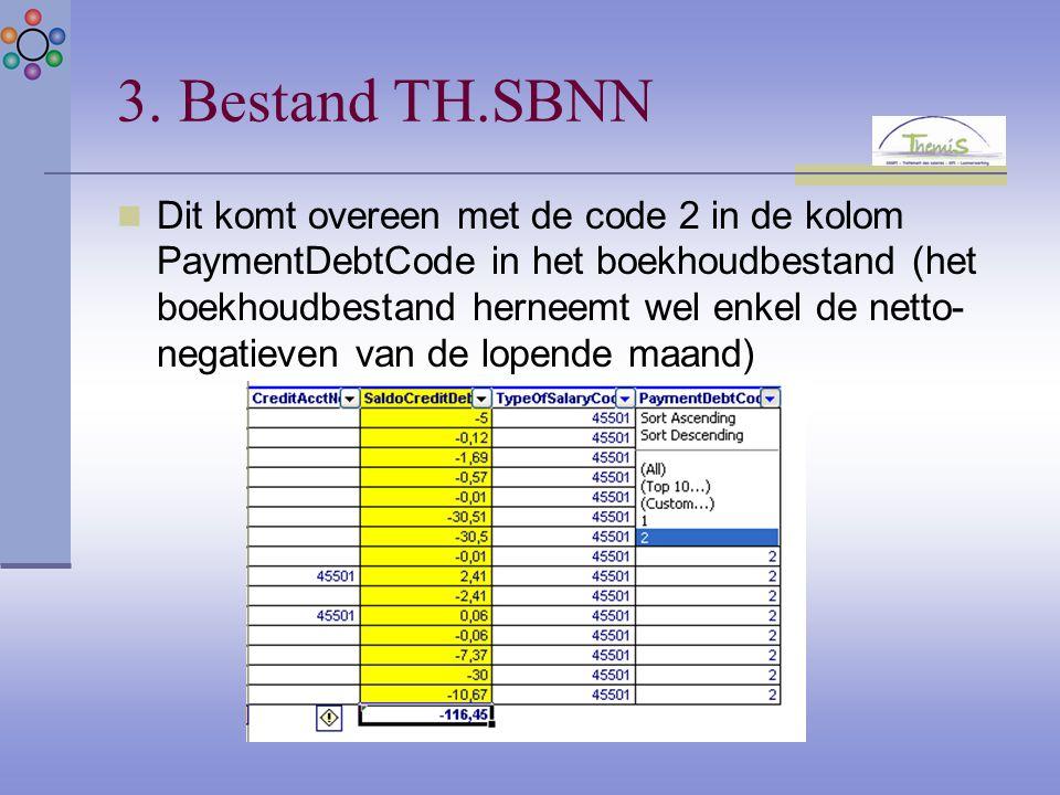 Dit komt overeen met de code 2 in de kolom PaymentDebtCode in het boekhoudbestand (het boekhoudbestand herneemt wel enkel de netto- negatieven van de