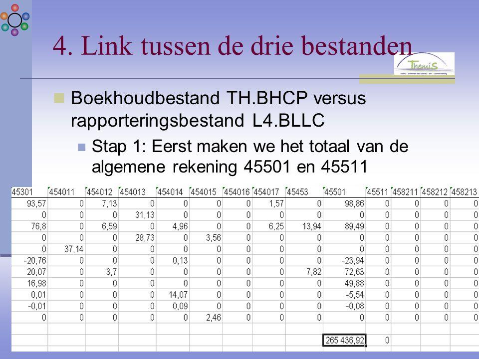 4. Link tussen de drie bestanden Boekhoudbestand TH.BHCP versus rapporteringsbestand L4.BLLC Stap 1: Eerst maken we het totaal van de algemene rekenin