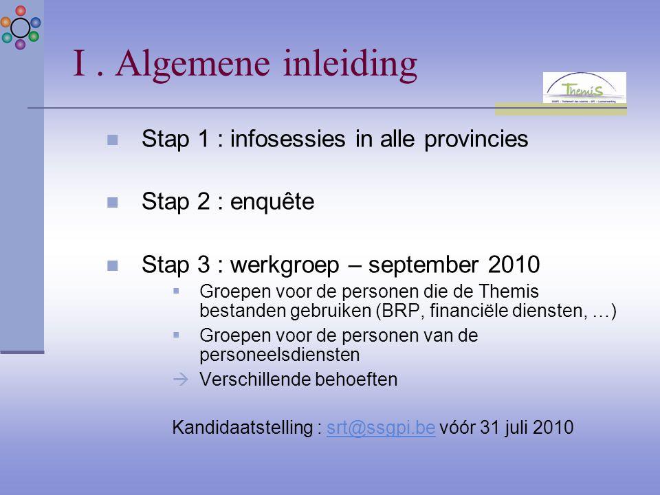 I. Algemene inleiding Stap 1 : infosessies in alle provincies Stap 2 : enquête Stap 3 : werkgroep – september 2010  Groepen voor de personen die de T