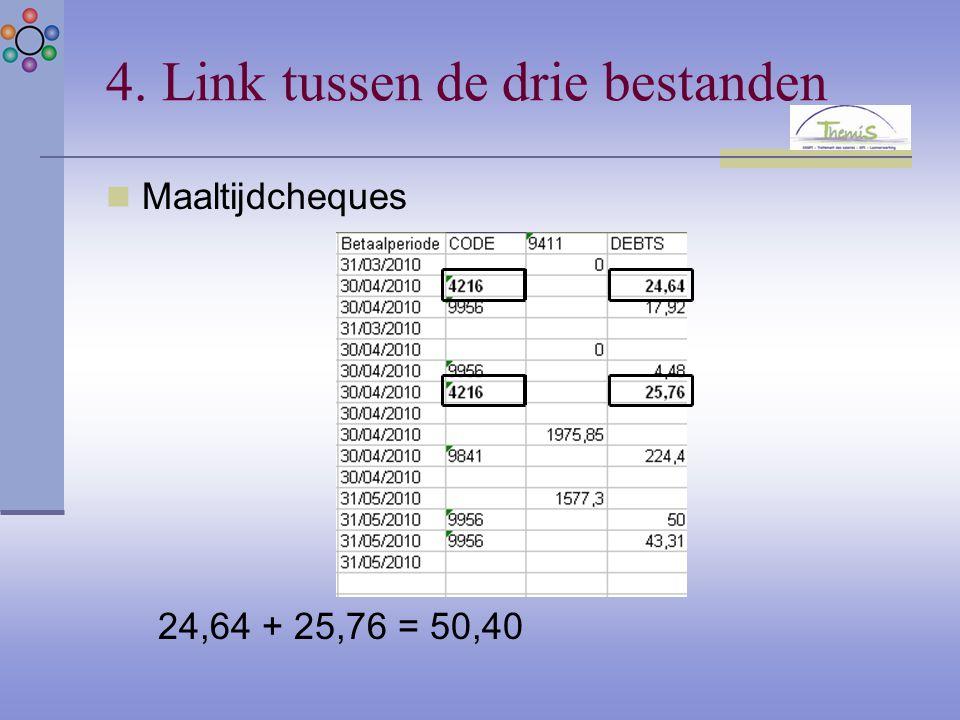 4. Link tussen de drie bestanden Maaltijdcheques 24,64 + 25,76 = 50,40
