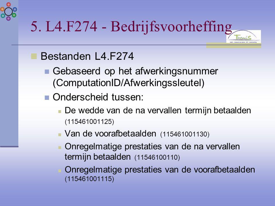 5. L4.F274 - Bedrijfsvoorheffing Bestanden L4.F274 Gebaseerd op het afwerkingsnummer (ComputationID/Afwerkingssleutel) Onderscheid tussen: De wedde va