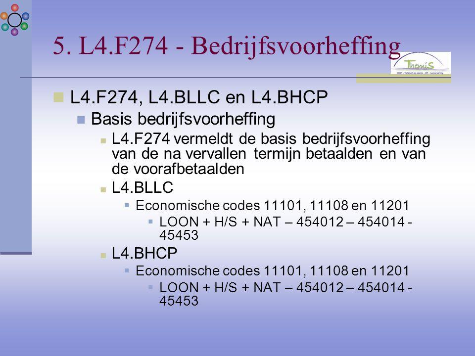5. L4.F274 - Bedrijfsvoorheffing L4.F274, L4.BLLC en L4.BHCP Basis bedrijfsvoorheffing L4.F274 vermeldt de basis bedrijfsvoorheffing van de na vervall