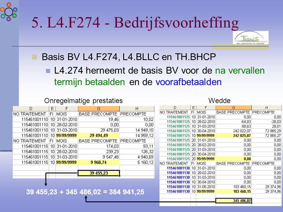 5. L4.F274 - Bedrijfsvoorheffing Basis BV L4.F274, L4.BLLC en TH.BHCP L4.274 herneemt de basis BV voor de na vervallen termijn betaalden en de voorafb