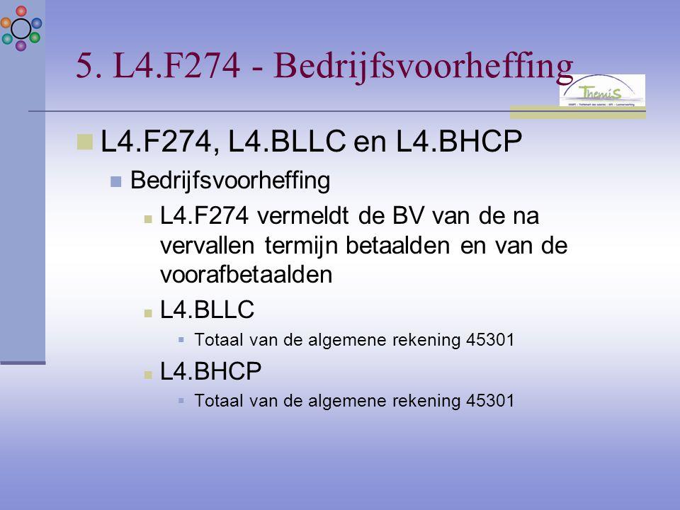 5. L4.F274 - Bedrijfsvoorheffing L4.F274, L4.BLLC en L4.BHCP Bedrijfsvoorheffing L4.F274 vermeldt de BV van de na vervallen termijn betaalden en van d