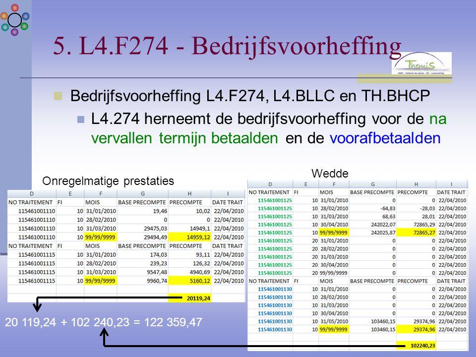 5. L4.F274 - Bedrijfsvoorheffing Bedrijfsvoorheffing L4.F274, L4.BLLC en TH.BHCP L4.274 herneemt de bedrijfsvoorheffing voor de na vervallen termijn b