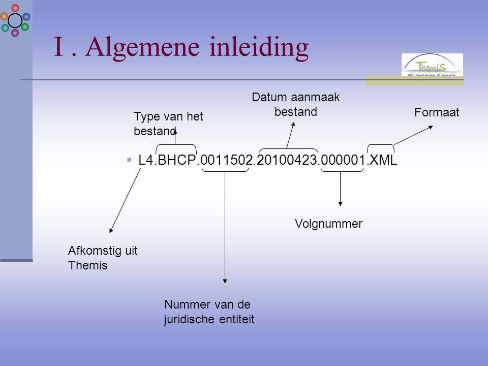 I. Algemene inleiding  L4.BHCP.0011502.20100423.000001.XML Afkomstig uit Themis Type van het bestand Formaat Datum aanmaak bestand Nummer van de juri