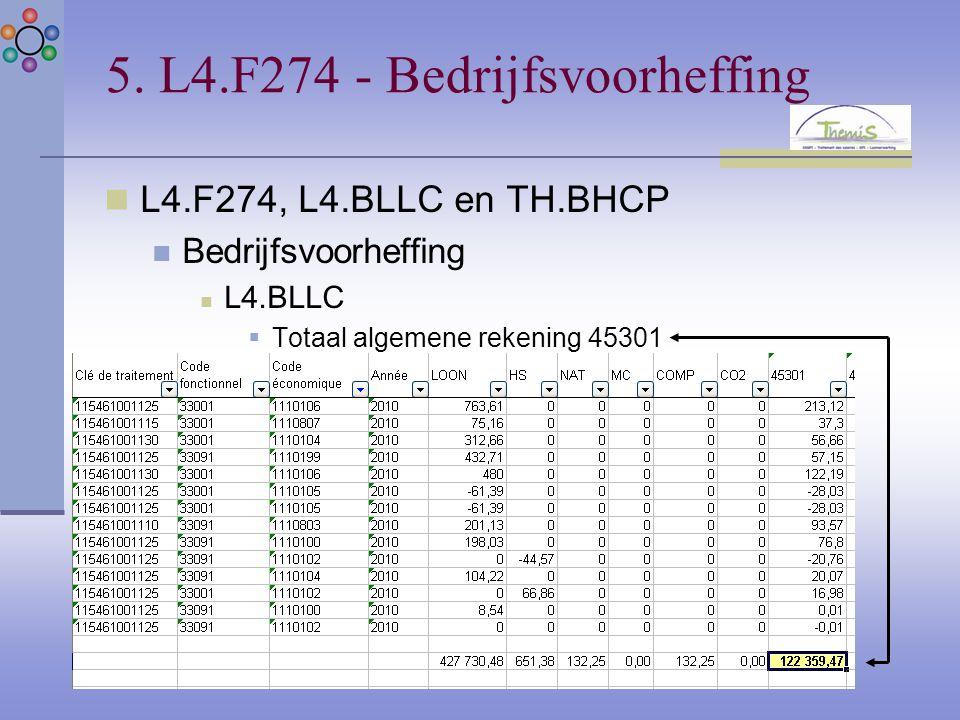 5. L4.F274 - Bedrijfsvoorheffing L4.F274, L4.BLLC en TH.BHCP Bedrijfsvoorheffing L4.BLLC  Totaal algemene rekening 45301