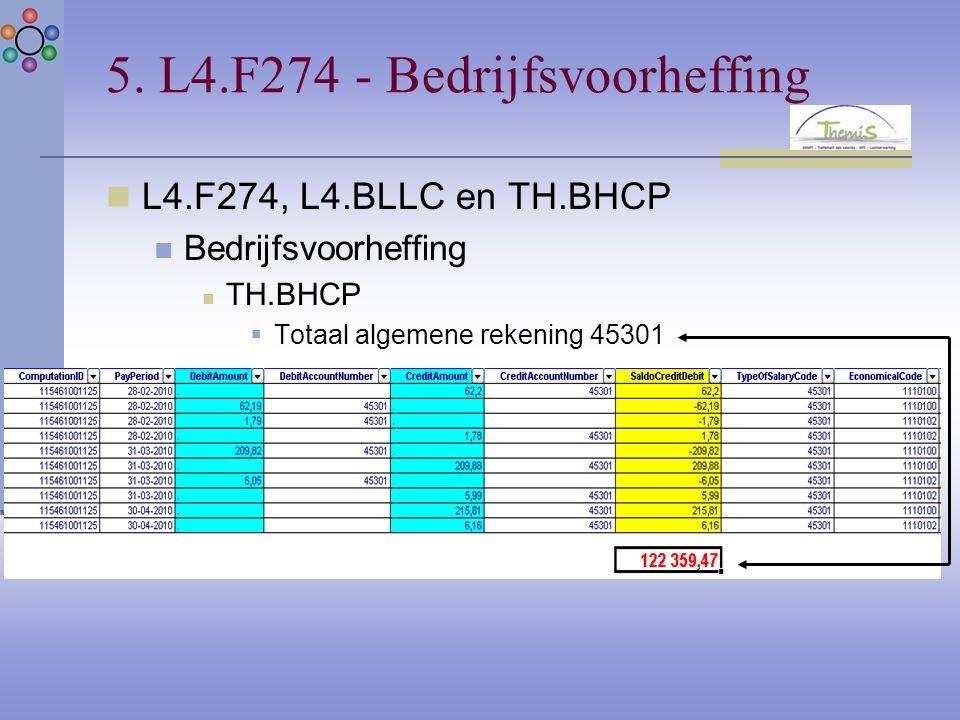 5. L4.F274 - Bedrijfsvoorheffing L4.F274, L4.BLLC en TH.BHCP Bedrijfsvoorheffing TH.BHCP  Totaal algemene rekening 45301