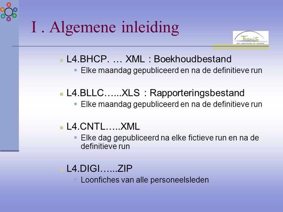 I. Algemene inleiding L4.BHCP. … XML : Boekhoudbestand  Elke maandag gepubliceerd en na de definitieve run L4.BLLC…...XLS : Rapporteringsbestand  El