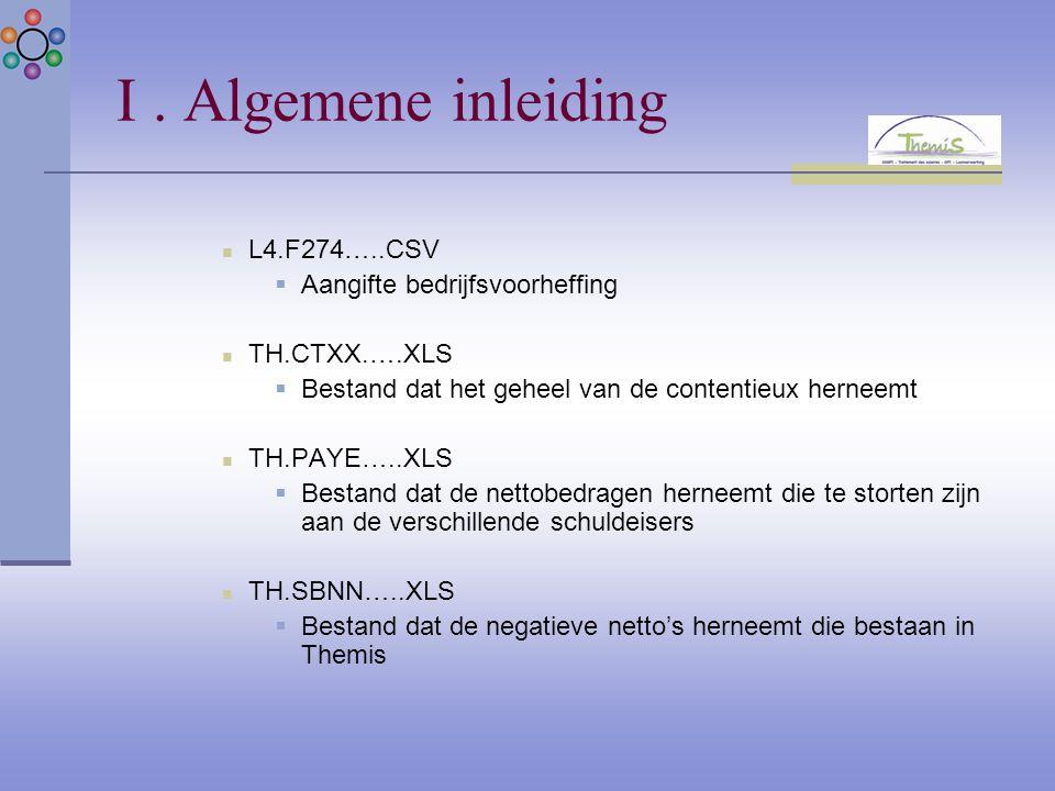 I. Algemene inleiding L4.F274…..CSV  Aangifte bedrijfsvoorheffing TH.CTXX.….XLS  Bestand dat het geheel van de contentieux herneemt TH.PAYE…..XLS 