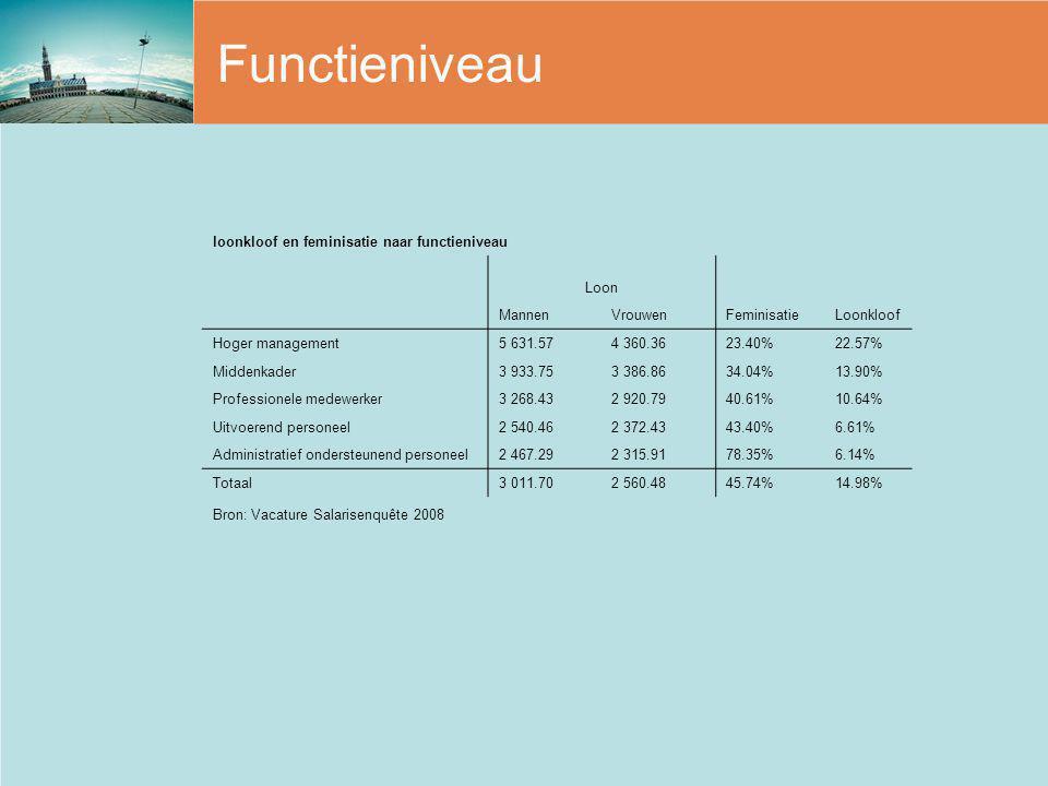 Functieniveau loonkloof en feminisatie naar functieniveau Loon MannenVrouwenFeminisatieLoonkloof Hoger management5 631.574 360.3623.40%22.57% Middenka