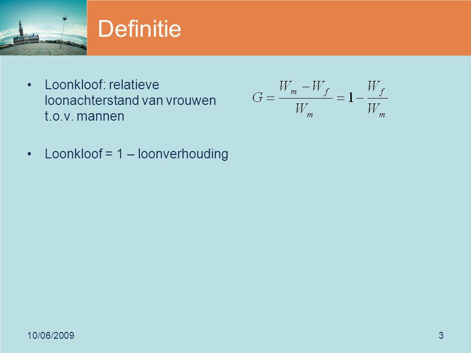 10/06/20093 Definitie Loonkloof: relatieve loonachterstand van vrouwen t.o.v.