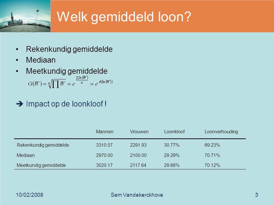 10/02/2008Sem Vandekerckhove4 m/v verdeling van de lonen Normaliseren door logaritmische transformatie