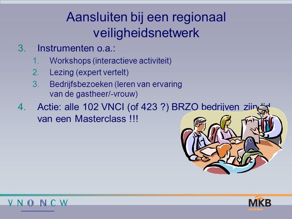 Aansluiten bij een regionaal veiligheidsnetwerk 3.Instrumenten o.a.: 1.Workshops (interactieve activiteit) 2.Lezing (expert vertelt) 3.Bedrijfsbezoeke