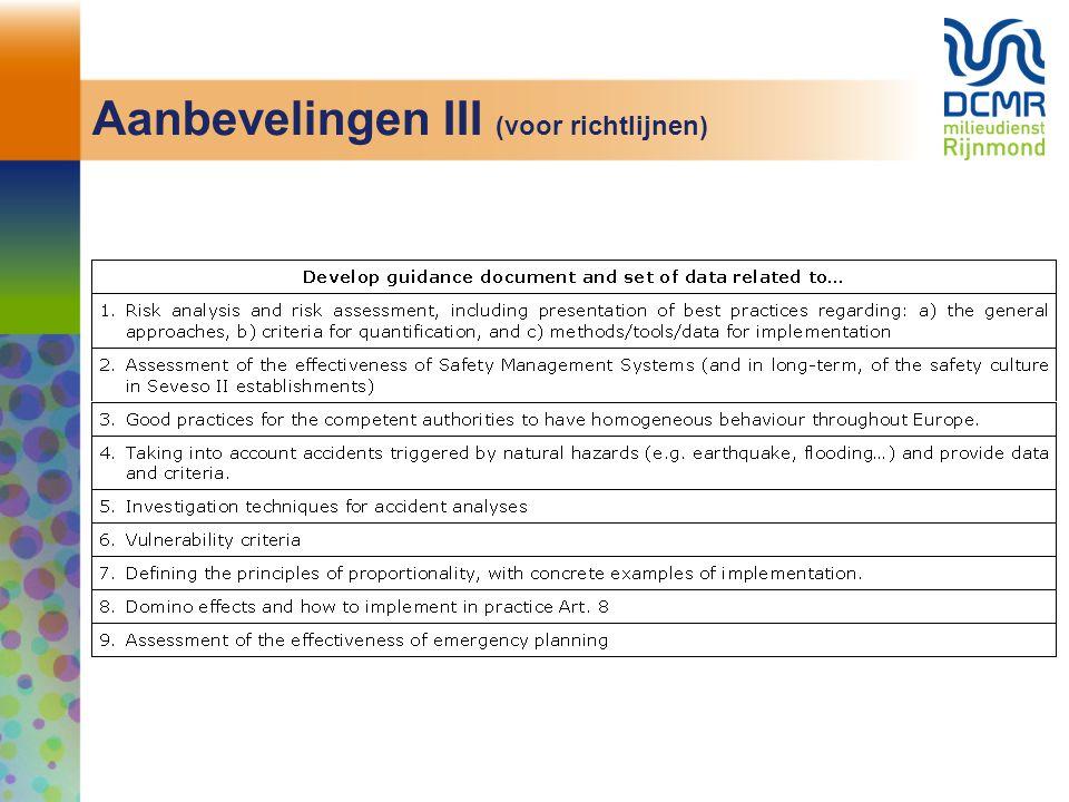 Aanbevelingen III (voor richtlijnen)