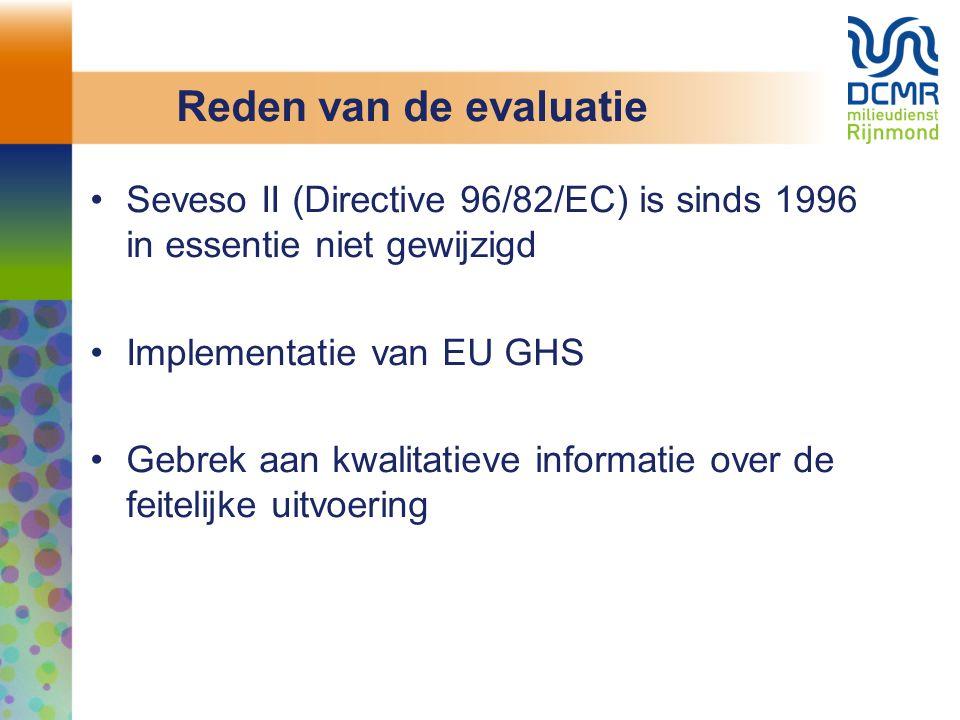 Reden van de evaluatie Seveso II (Directive 96/82/EC) is sinds 1996 in essentie niet gewijzigd Implementatie van EU GHS Gebrek aan kwalitatieve informatie over de feitelijke uitvoering