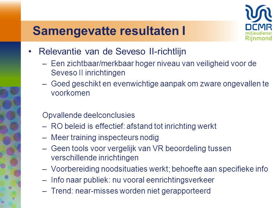 Samengevatte resultaten I Relevantie van de Seveso II-richtlijn –Een zichtbaar/merkbaar hoger niveau van veiligheid voor de Seveso II inrichtingen –Goed geschikt en evenwichtige aanpak om zware ongevallen te voorkomen Opvallende deelconclusies –RO beleid is effectief: afstand tot inrichting werkt –Meer training inspecteurs nodig –Geen tools voor vergelijk van VR beoordeling tussen verschillende inrichtingen –Voorbereiding noodsituaties werkt; behoefte aan specifieke info –Info naar publiek: nu vooral eenrichtingsverkeer –Trend: near-misses worden niet gerapporteerd