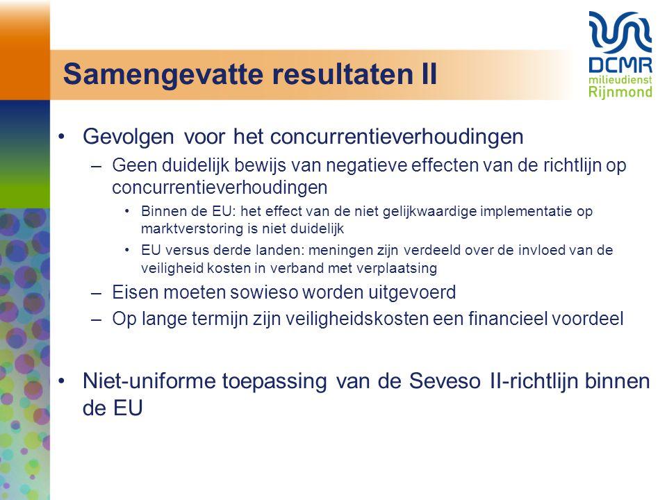 Samengevatte resultaten II Gevolgen voor het concurrentieverhoudingen –Geen duidelijk bewijs van negatieve effecten van de richtlijn op concurrentieve