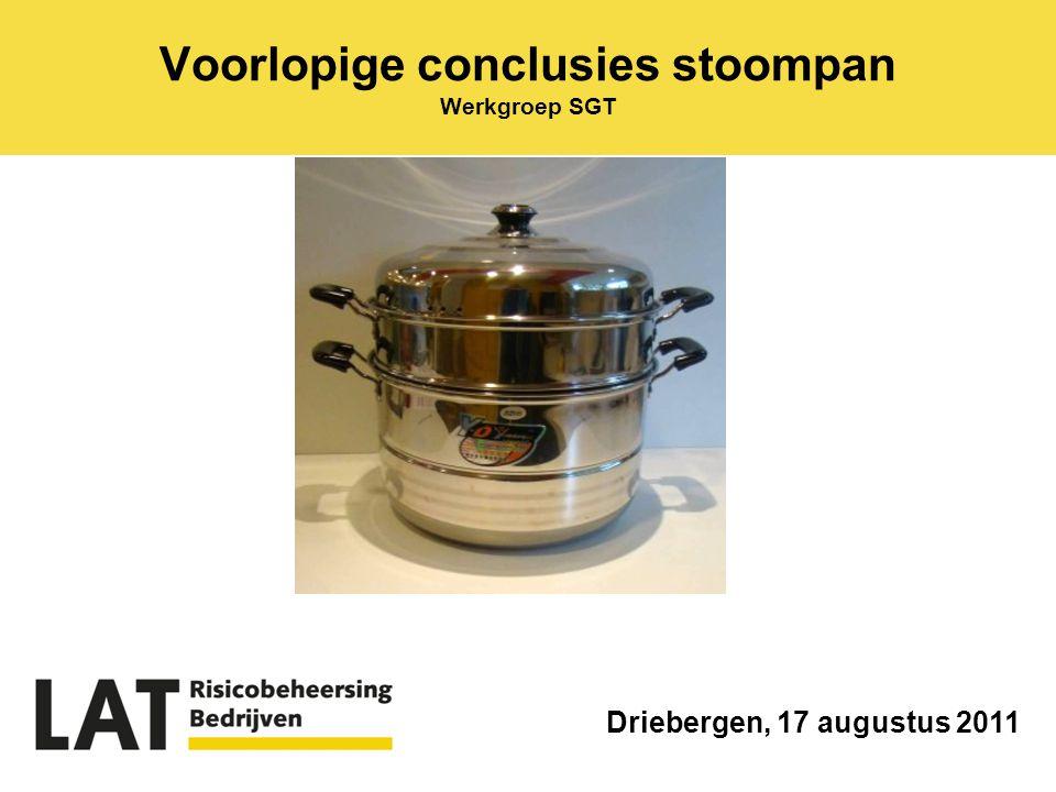 Voorlopige conclusies stoompan Werkgroep SGT Driebergen, 17 augustus 2011