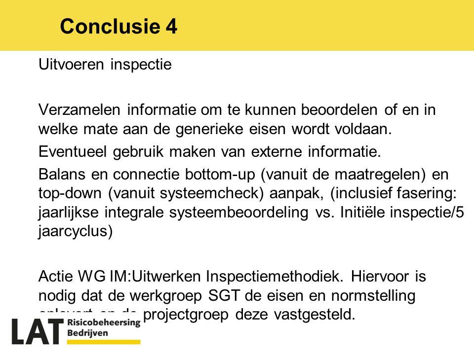 Uitvoeren inspectie Verzamelen informatie om te kunnen beoordelen of en in welke mate aan de generieke eisen wordt voldaan.