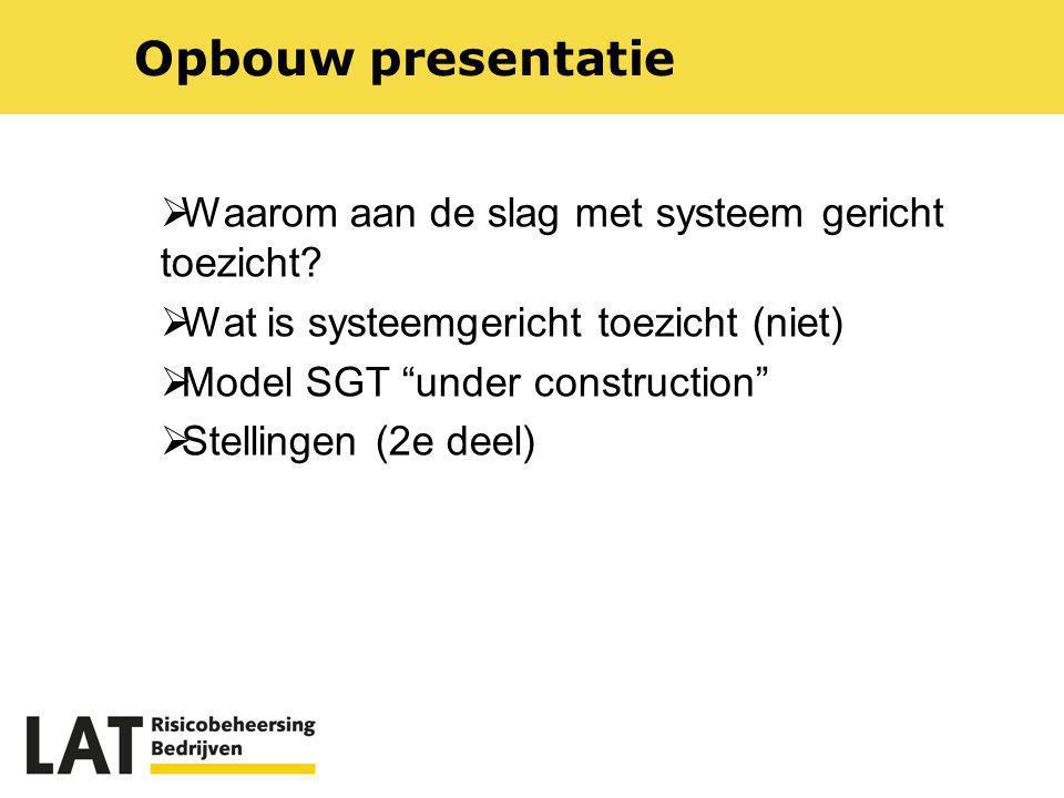 """ Waarom aan de slag met systeem gericht toezicht?  Wat is systeemgericht toezicht (niet)  Model SGT """"under construction""""  Stellingen (2e deel) Opb"""