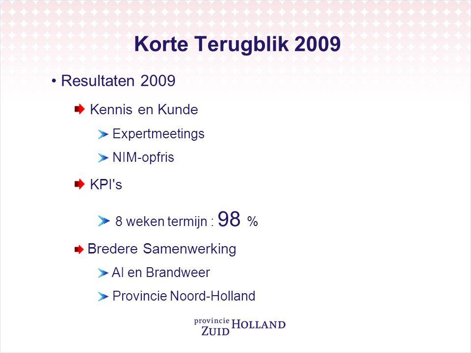 Korte Terugblik 2009 Resultaten 2009 Kennis en Kunde Expertmeetings NIM-opfris KPI's 8 weken termijn : 98 % Bredere Samenwerking AI en Brandweer Provi