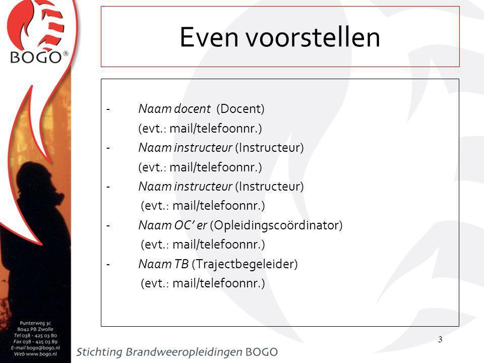 -Naam docent (Docent) (evt.: mail/telefoonnr.) -Naam instructeur (Instructeur) (evt.: mail/telefoonnr.) -Naam instructeur (Instructeur) (evt.: mail/telefoonnr.) -Naam OC' er (Opleidingscoördinator) (evt.: mail/telefoonnr.) -Naam TB (Trajectbegeleider) (evt.: mail/telefoonnr.) 3 Even voorstellen