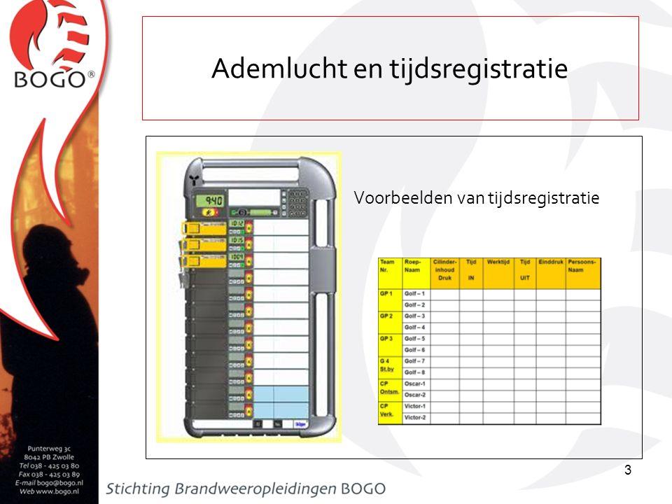 Les 36a leergang bevelvoerder (auteur: F. van de Wetering) Ademlucht en tijdsregistratie Voorbeelden van tijdsregistratie 3