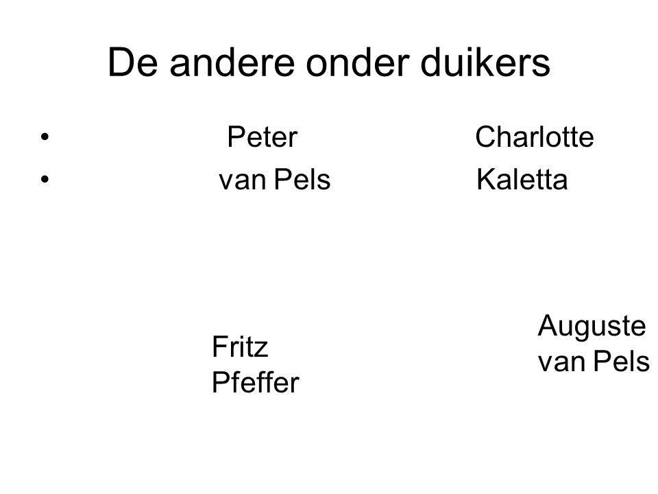 De andere onder duikers Peter Charlotte van Pels Kaletta Fritz Pfeffer Auguste van Pels