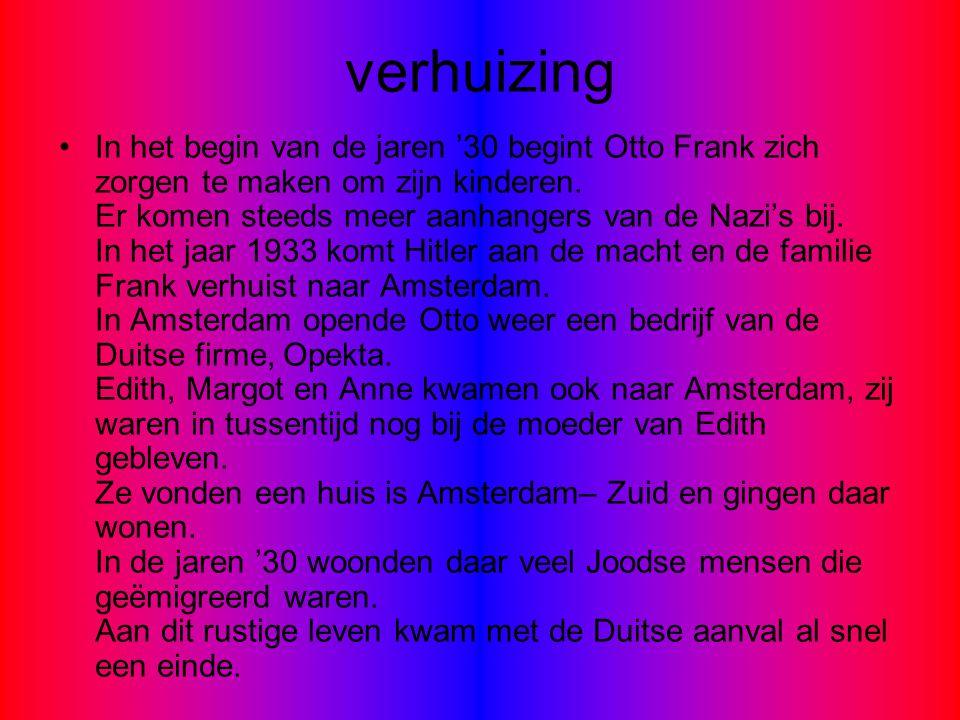 verhuizing In het begin van de jaren '30 begint Otto Frank zich zorgen te maken om zijn kinderen. Er komen steeds meer aanhangers van de Nazi's bij. I